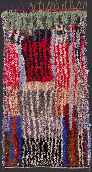 bs166, highly unusual Moroccan vintage boucherouite rag rug, 245 x 140 cm / 8' 2'' x 3' 8''