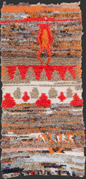 bs171, Moroccan vintage boucherouite rag rug (pile made from fine industrially spun yarns) 160 x 80 cm / 5' 4'' x 2' 8''