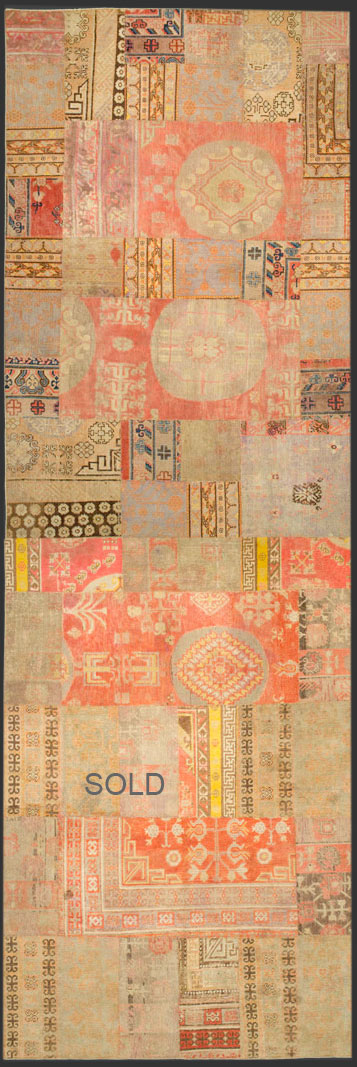 Khotan patchwork rug 54737 + 54738 custom made long version