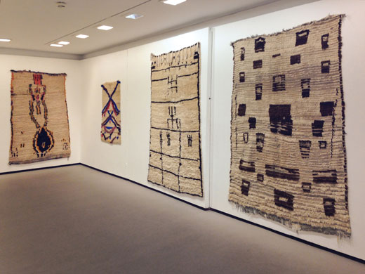 the Douglas Hyde Gallery, Dublin, Ireland: 'Textiles from the Atlas Mountains', 3 rugs from Azilal, central High Atlas + a small saddle rug from the central Middle Atlas