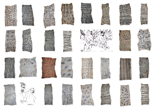 Mbuti bark cloth drawingsfrom the Ituri rain forest, Congo