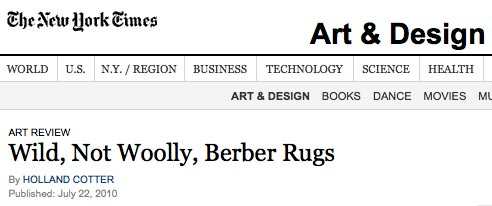 New YorkTimes review of the boucherouite exhibition at Cavin Morris Gallerysummer 2010 by Holland Cotter